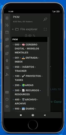 App móvil Obsidian instalada en Android