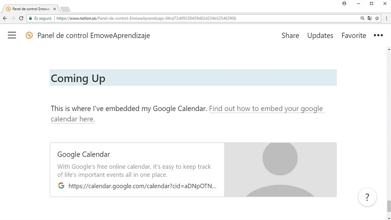 Acceso a Google Calendar - Panel Notion