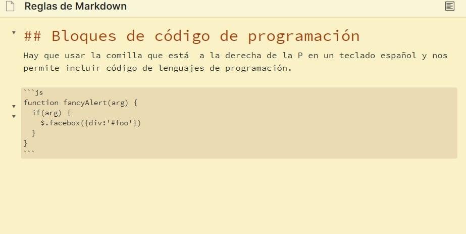 Bloque de código de programación - Vista edición