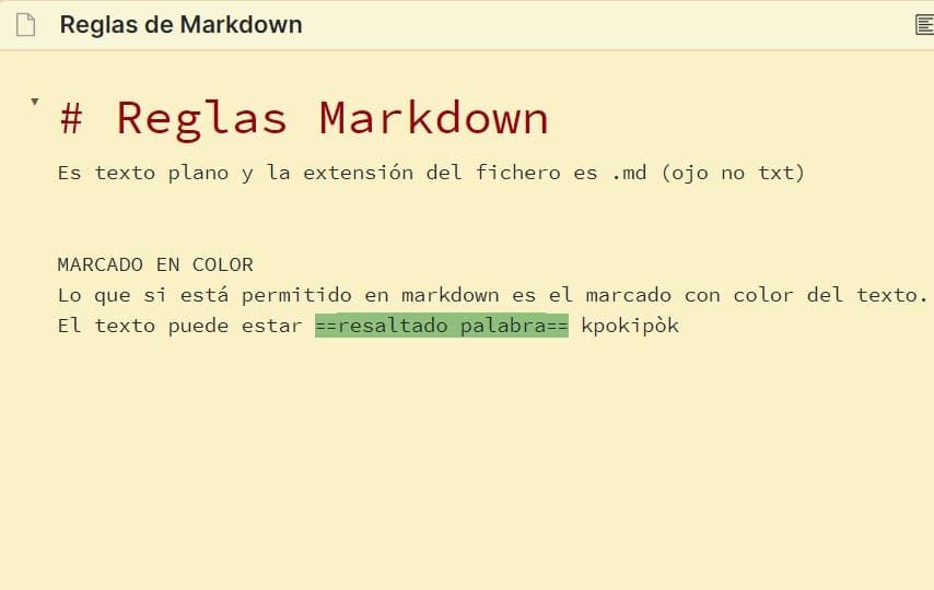 Tutorial Markdown - Resaltado de texto