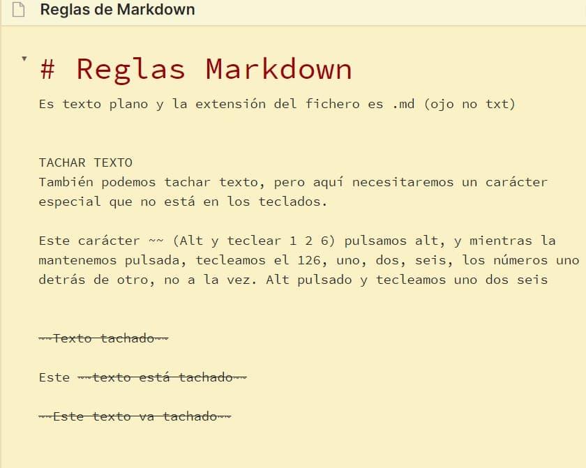 Vista de edición texto tachado con Markdown