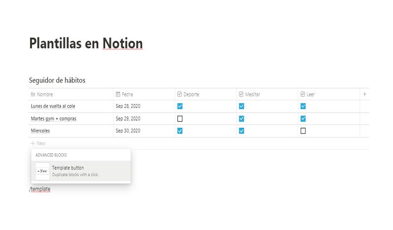 Template button