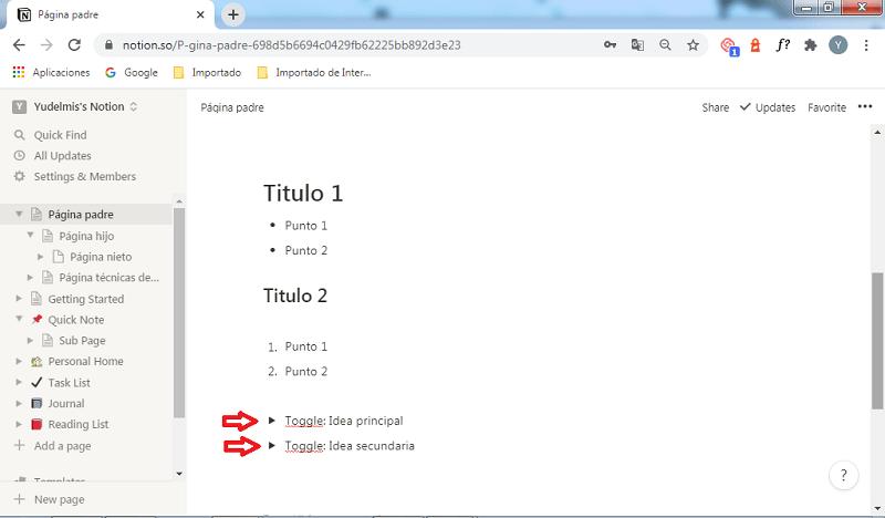 Bloques básicos en Notion: toggle list
